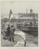 """The Queen at Manchester, Her Majesty, in the Admiralty Yacht """"Enchantress,"""" opening the Ship Canal"""