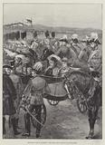 The Royal Visit to Aldershot, the Scots Greys trotting past the Queen