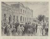 Scene outside the Landrost's Court-House on the Arrival of Stragglers of Jameson's Force
