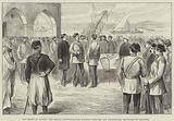 The Relief of Suakin, the Sirdar congratulating Egyptian Officers and distributing Gratuities to Soldiers