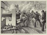 """Life on Board a Man-of-War, Practice with a Six-Inch Breech-Loading Gun, """"A Hit!"""""""