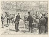 The London Horse Show, the Prince of Wales presenting Cup to Mr Moore for his Hackney Horse Rufus