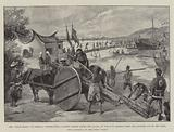 """The """"Black Flags"""" in Formosa, constructing a Bamboo Bridge across the Lagoon, by which to retreat …"""