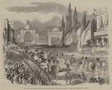 The Royal Procession through the Grande Place, with the Pavilions at the Port Scharbeck, Brussels