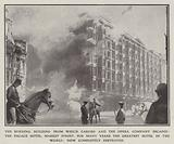 The burning building from which Caruso and the opera company escaped: the Palace Hotel, Market Street, for many years the greatest hotel in the World: now completely destroyed