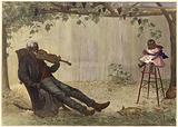 Old negro playing violin to baby