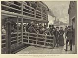 Russian emigrants landing from the tender at the barge office, New York
