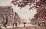 General Post Office (on left), Entrance to Queen's House (on right), and Clock Tower (in distance), Colombo
