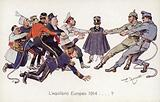 WW1 Allies playing tug of war with Central Powers