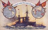 British battleship with maps and flags of British Empire