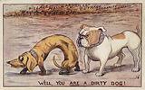British bulldog threatening a German dachshund