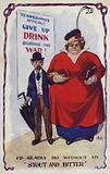 Man and wife with temperance appeal poster
