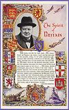Winston Churchill surrounded by coats of arms of British colonies and with speech