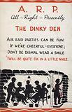 WW2 cartoon propaganda postcard about air raid shelters