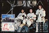 The crew of Apollo 15 on the Lunar Roving Vehicle, 1971