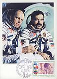Nikolai Rukavishnikov and Georgi Ivanov, the crew of Soviet spacecraft Soyuz-33, 1979