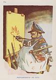"""Peace-loving"" Tito. Czechoslovakian cartoon depicting Yugoslav leader Marshal Tito failing in an attempt to look like a pacifist, 1950s"