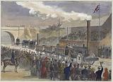 Stephenson's Rocket coming in first at the competition of locomotives at Rainhill in 1829