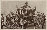 The State Coach with their Majesties, the King and Queen, on the way to open Parliament, London