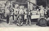 Postcard depicting locals in a street market in Naples