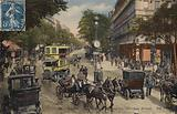 Postcard depicting the Carrefour Drouot on Le Boulevard Montmartre