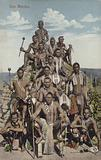 Postcard depicting a portrait of Zulu warriors