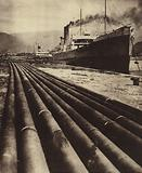 Foreign oil tankers at the port of Batumi on the Black Sea, waiting to be filled with Soviet oil, USSR, 1931