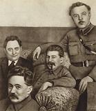 Soviet leaders Kliment Voroshilov, Joseph Stalin and Dmitry Manuilsky with Bulgarian Communist leader Georgi Dimitrov in Moscow, February 1934
