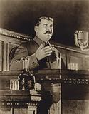 Soviet leader Joseph Stalin speaking in front of the All-Union congress of the Stakhanovism movement, 1935