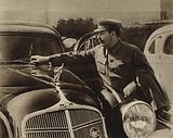 Communist leader Joseph Stalin inspecting the new Soviet ZIS-101 limousine at the Kremlin, Moscow, 1936