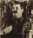 Soviet leader Joseph Stalin reporting on the draft of the new constitution at the 8th All-Union Congress of the …