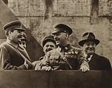 Soviet leaders Joseph Stalin and Kliment Voroshilov with Bulgarian Communist Georgi Dimitrov, leader of Comintern, at the May Day celebrations, Moscow, 1937