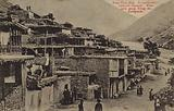 Aul (fortified village) of people of the Caucasus Mountains, Georgian military road, Russian Empire, early 20th Century