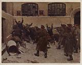 Russian soldiers shooting demonstrators in the Presnya district of Moscow during the 1905 Revolution