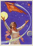 Soviet propaganda image celebrating the Luna 1 spacecraft launched on 2 January 1959