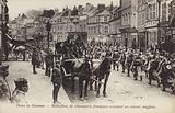 Battalion of French chasseurs passing a British convoy, Somme, France, World War I
