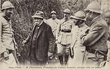 French Prime Minister Georges Clemenceau chatting to a soldier, Oise, France, World War I, 1917-1918