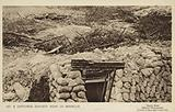 Captured German dugout near La Boisselle, Battle of the Somme, World War I, 1916