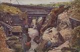British look-out in a captured trench at Ovillers-la-Boisselle, Battle of the Somme, World War I, 1916