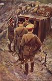 King George V about to enter a captured German dugout on a visit to the front, World War I