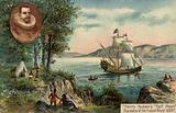 Henry Hudson's ship Half Moon discovering the Hudson River, North America, 1609