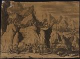 Rocky terrain with troops using a pulley system to raise cannons onto the cliff face