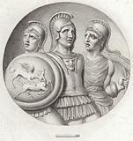 Roundel depicting three Roman soldiers