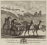 Four eskimo figures driving two reindeer-driven sledges