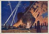 Soviet aircraft bombing the oilfields of Ploesti, Romania, World War II, 1940s