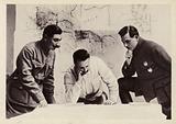 Soviet military commanders Semyon Budyonny, Mikhail Frunze and Kliment Voroshilov during the campaign against White Army General Pyotr Wrangel. Russian Civil War, 1920