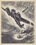 A German bomber scoring a direct hit on a British warship, World War II, 1940