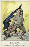 Our Hercules. World War I cartoon depicting German Field Marshal Paul von Hindenburg defeating a Russian enemy, 1916