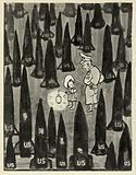 Chinese Cold War cartoon depicting American armament under President Dwight Eisenhower, 1960