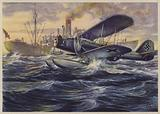 German seaplane searching a neutral steamer for contraband, World War II, 1940
